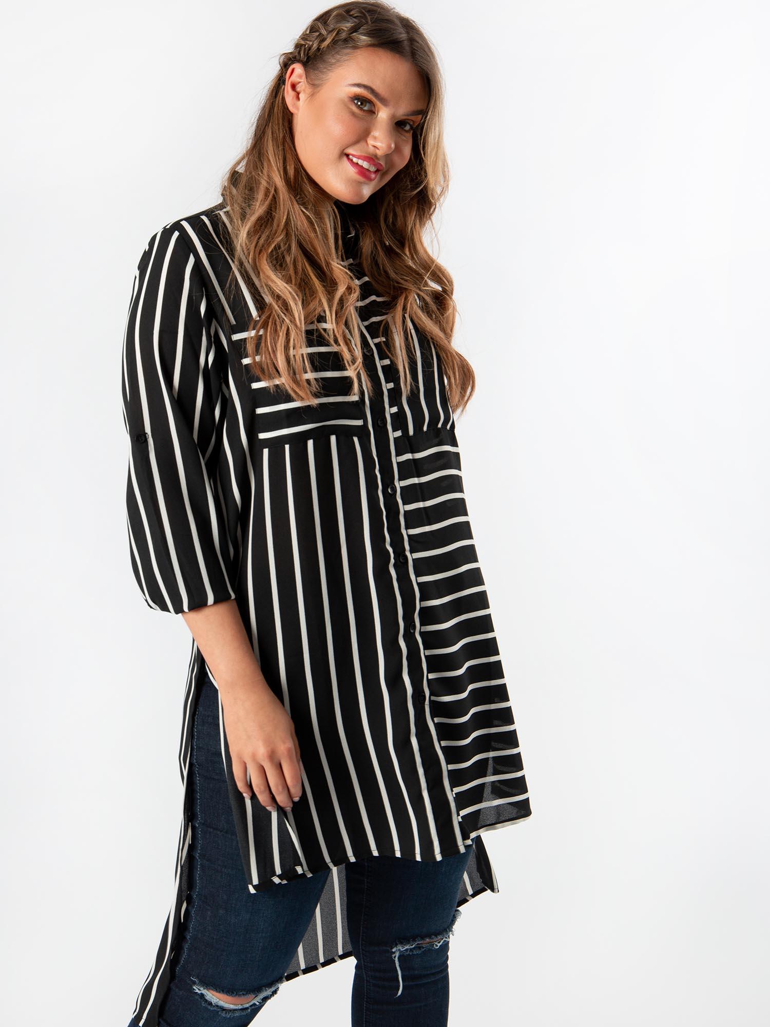 Koko Womens Plus Size Black and White Stripe Longline Shirt