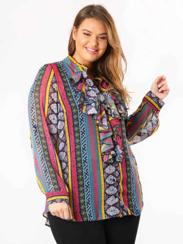 Lovedrobe GB Aztec Print Frill Front Shirt