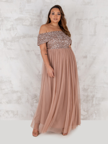 Maya Curve Taupe Blush Bardot Embellished Maxi Dress