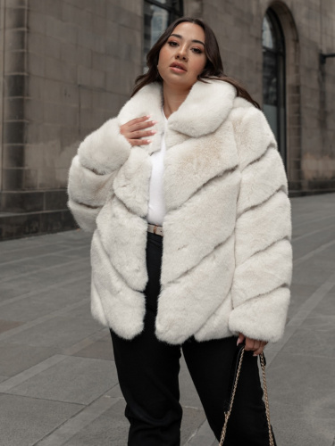 Lovedrobe Ivory Faux Fur Coat with Faux Leather Detail