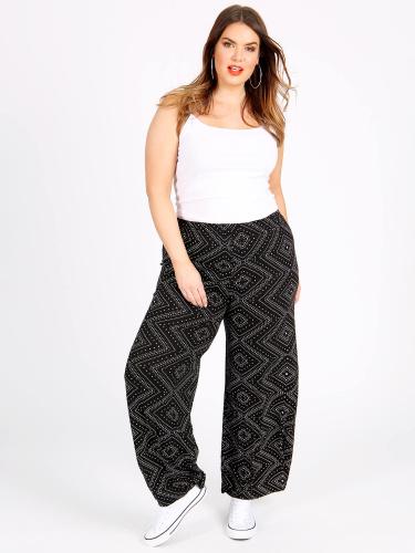 Curve Essentials Diamond Print Wide Leg Trousers