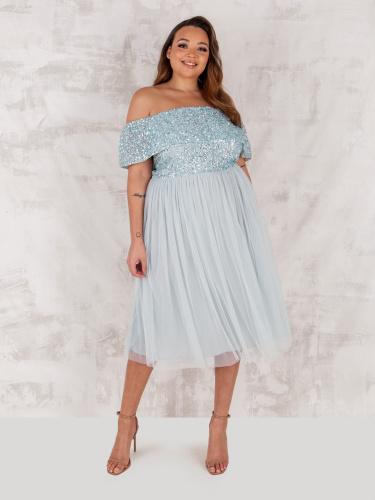 Maya Deluxe Ice Blue Bardot Embellished Midi Dress