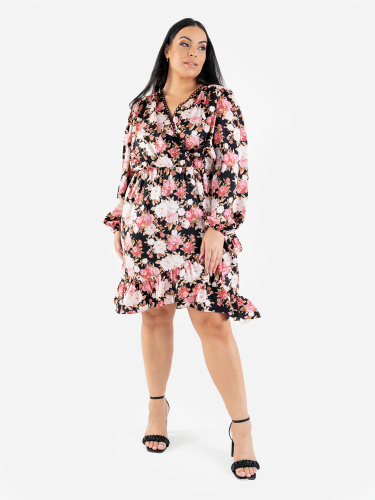 Lovedrobe Luxe Faux Wrap Floral Midi Dress with Balloon Sleeves and Ruffle Detail