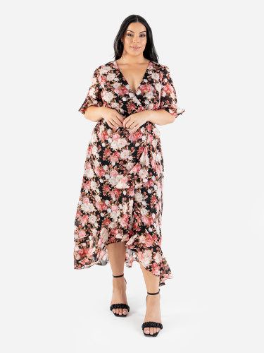 Lovedrobe Luxe Floral Faux Wrap Front Dress with Ruffle Detail