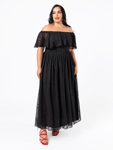 Lovedrobe Luxe Black Textured Bardot Maxi Dress