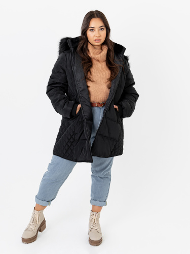 Lovedrobe Black Puffer Coat with Quilted Detail and Removable Faux Fur Trim