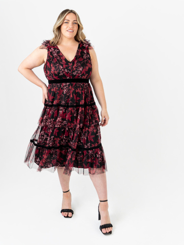 Anaya With Love Recycled Floral Midi Dress with Velvet Detail