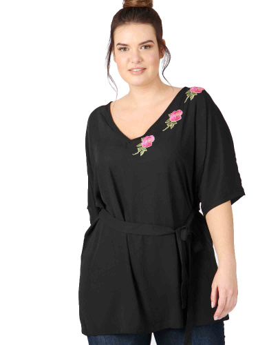Lovedrobe GB Black Kimono Top with Floral Applique