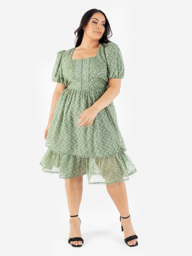 Lovedrobe Luxe Sage Tiered Midi Dress with Square Neckline