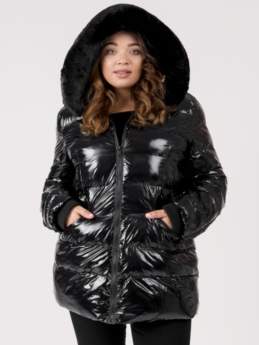 Lovedrobe Shiny Padded Coat with Detachable Faux Fur Trim & Hood
