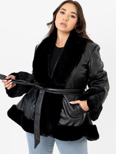 Lovedrobe Black Faux Leather Swing Jacket with Belt and Faux Fur Trim