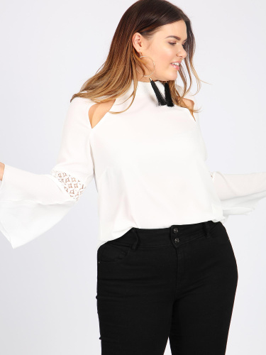 Lovedrobe GB ivory lace contrast bell sleeve blouse