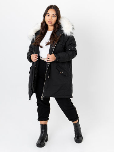 Lovedrobe Black Hooded Parka With Removable Faux Fur Trim