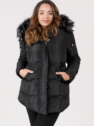 Lovedrobe Black Padded Coat With Detachable Faux Fur Trim