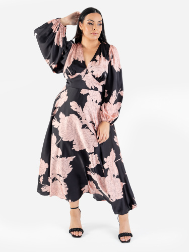 Lovedrobe Luxe Floral V Neck Midaxi Dress with Balloon Sleeves