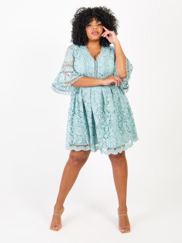 Lovedrobe Luxe Floral Lace Skater Dress In Aqua