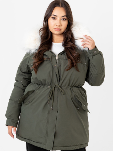 Lovedrobe Khaki Hooded Parka With Removable Faux Fur Trim