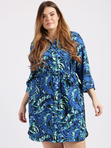 Lovedrobe GB Blue Leaf Print Shirt Dress