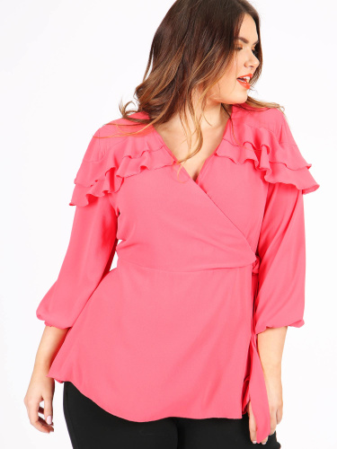 Koko Coral Wrap Top with Frilled Shoulders