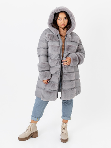 Lovedrobe Silver Longline Puffer Hooded Coat with Faux Fur Detail