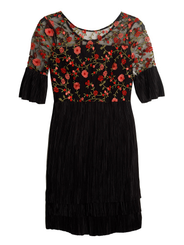 Lovedrobe Floral Embroidered Midi Dress with Tiered Skirt