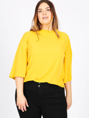 Lovedrobe GB mustard 3/4 sleeve blouse with cut out detail