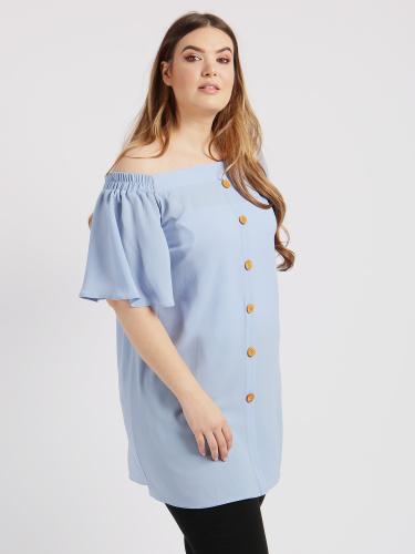 Lovedrobe GB Blue Crepe Longline Bardot Top