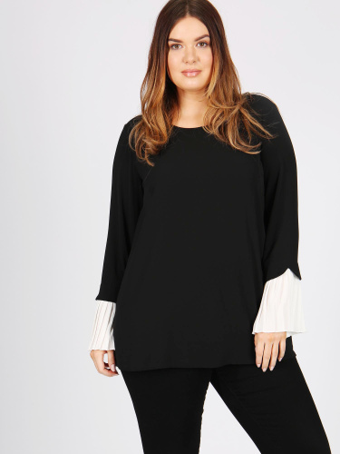 Lovedrobe GB black pleated sleeve blouse