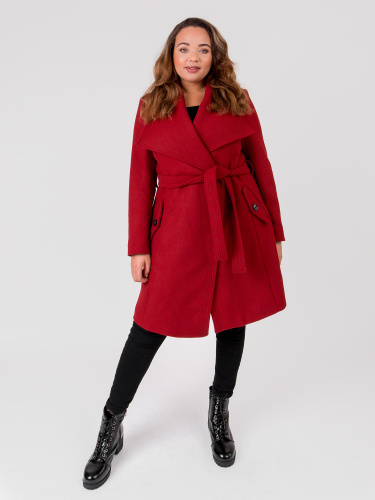 Lovedrobe Wool Blend Red Wrap Coat with Oversized Collar