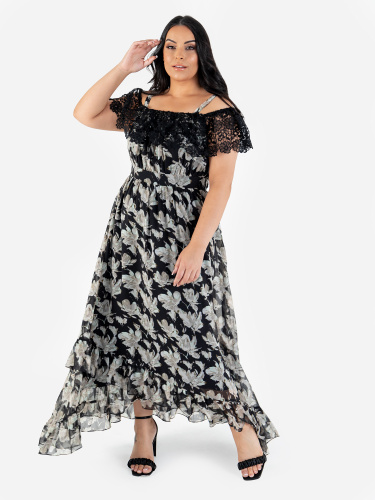 Lovedrobe Luxe Floral Bardot Midi Dress with Lace and Ruffle Detail