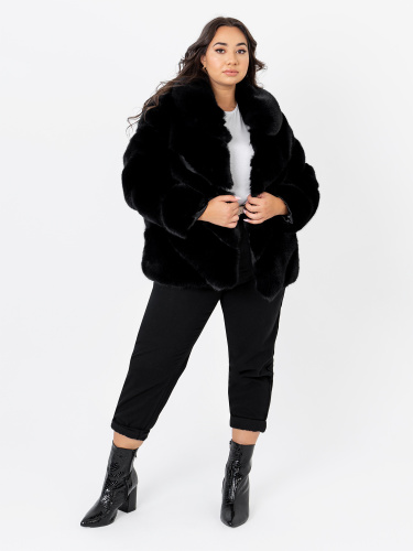 Lovedrobe Black Faux Fur Coat with Faux Leather Detail