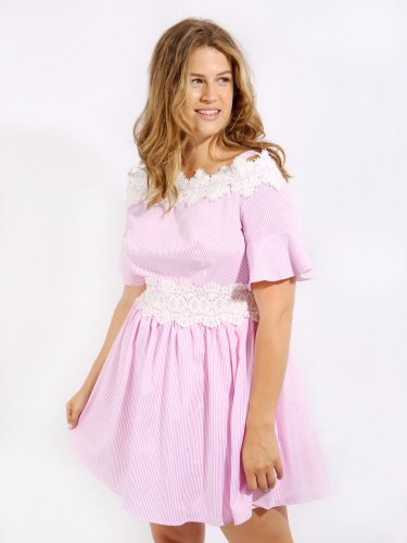 Koko Pink Stripe Lace Trim Cold Shoulder Skater Dress