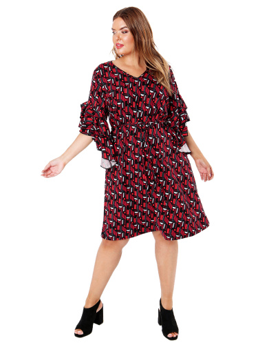 Lovedrobe GB Abstract Print Dress with Frill Sleeves