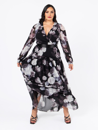 Lovedrobe Luxe Floral Maxi Dress with Satin Sash Belt and Frill Detail