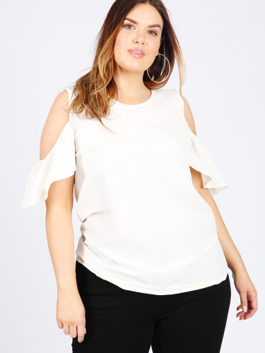 Koko White Cold Shoulder Top With Frill Sleeve