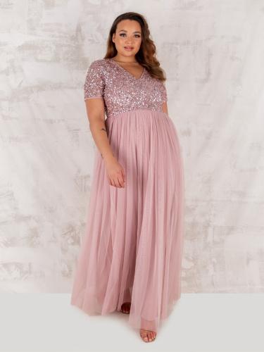 Maya Deluxe Curve Frosted Pink V Neckline Embellished Maxi Dress