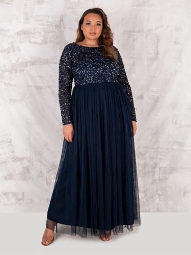 Maya Deluxe Curve Navy Embellished Long Sleeve Maxi Dress