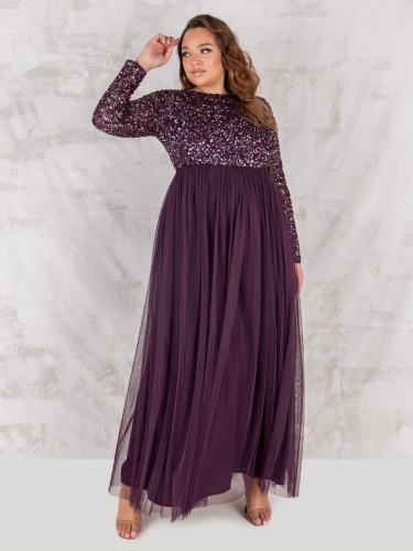 Maya Deluxe Curve Berry Embellished Long Sleeve Maxi Dress