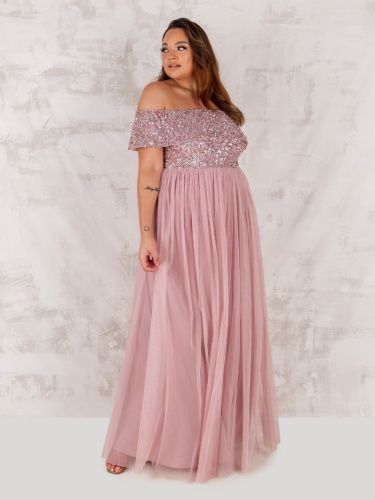 Maya Deluxe Curve Frosted Pink Bardot Embellished Maxi Dress