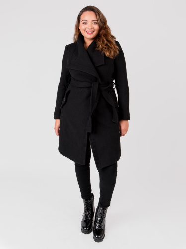 Lovedrobe Wool Blend Black Wrap Coat with Oversized Collar