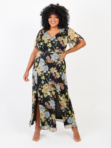 Lovedrobe Floral Print Maxi Dress With Double Front Split