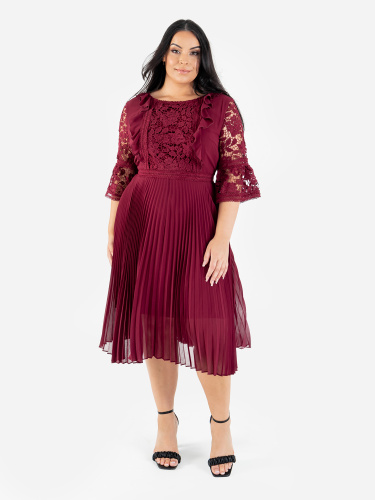 Lovedrobe Luxe Berry Pleated Midi Dress with Lace Detail