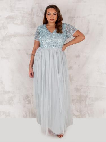 Maya Deluxe Curve Ice Blue V Neckline Embellished Maxi Dress