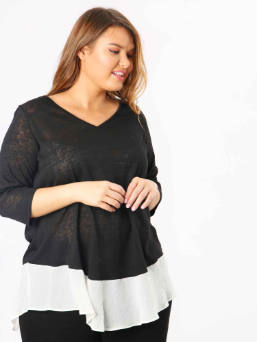 Koko Black V Neck Top With Semi Sheer Panel