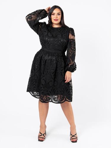 Lovedrobe Luxe Black Lace Long Sleeve Midi Dress