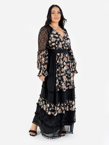 Lovedrobe Luxe Black Floral Long Sleeve Maxi Dress with Lace Detail