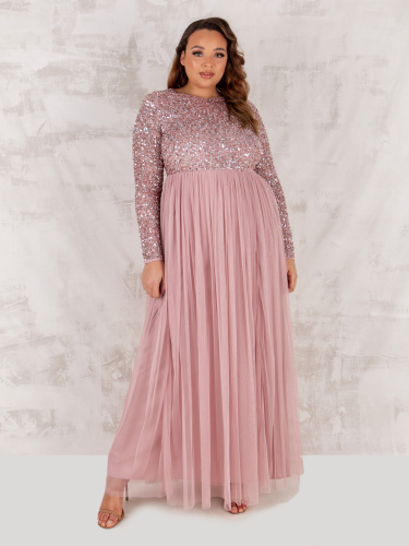 Maya Deluxe Curve Frosted Pink Embellished Long Sleeve Maxi Dress
