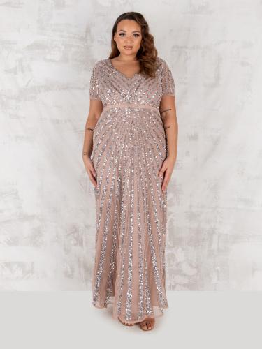 Maya Deluxe Curve Taupe Blush Short Sleeve Stripe Embellished Maxi Dress