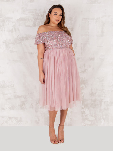 Maya Deluxe Curve Frosted Pink Bardot Embellished Midi Dress