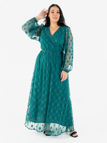Lovedrobe Luxe Green Floral Lace Faux Wrap Maxi Dress